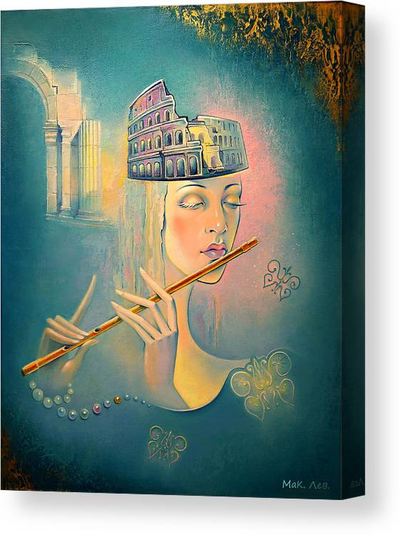 Postmodernism Canvas Print featuring the painting The Song Of The Forgotten Gods by Elena Makarova-Levina