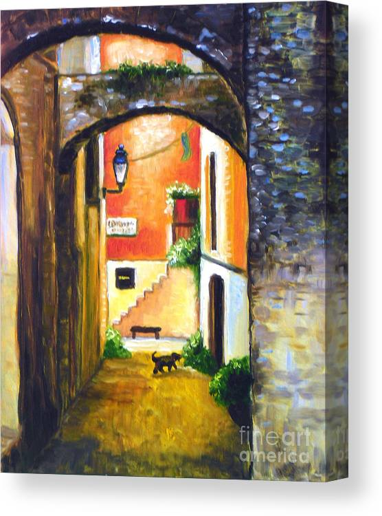 Nice Canvas Print featuring the painting Un Chien by Hilary England