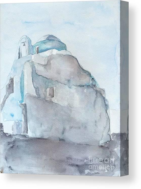 Greek Church Canvas Print featuring the painting Greek Island Church by Chloe Archer