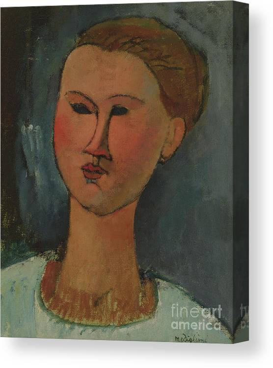 27f8e5fcfa1 Modigliani Canvas Print featuring the painting Head Of A Young Girl by  Amedeo Modigliani