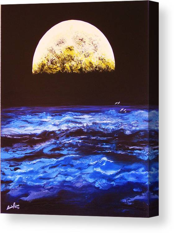 Contemporain Sea Canvas Print featuring the painting Le Voyage by Annie Rioux