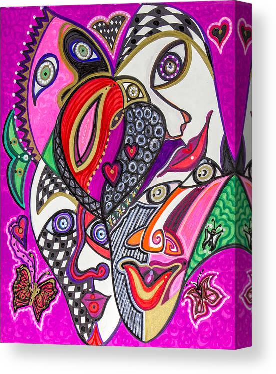 Heart Canvas Print featuring the painting Many Faces 1 by Laurel Rosenberg