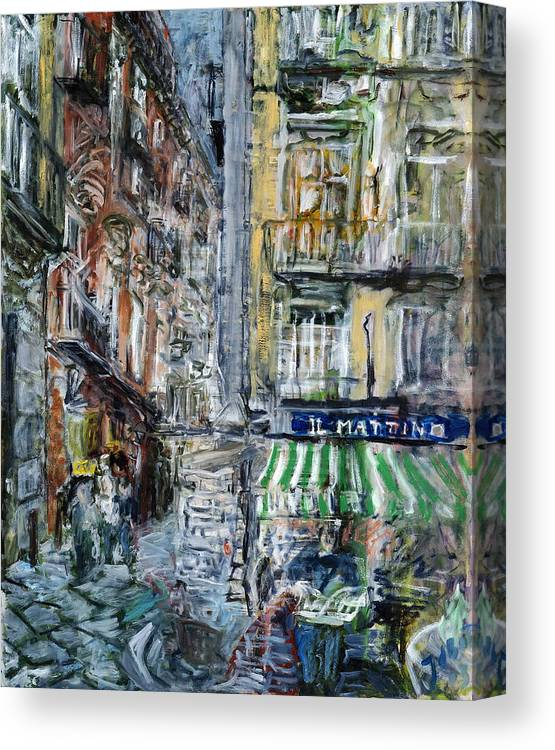 Cityscape Naples Italy Kiosk Alley Way Newspapers Canvas Print featuring the painting Naples Kiosk by Joan De Bot
