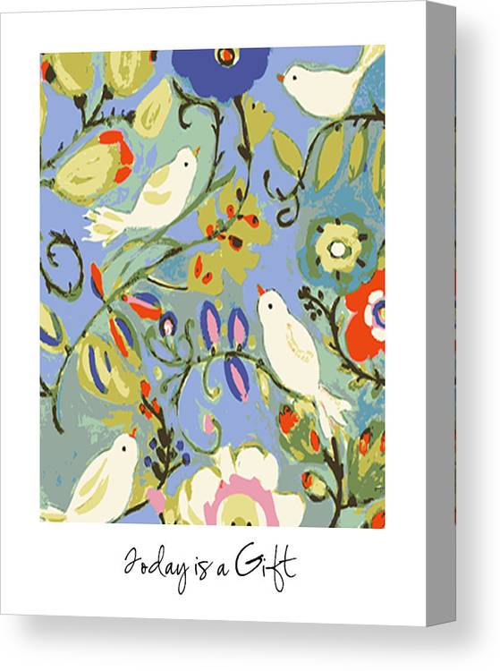 Birds Canvas Print featuring the digital art Today Is A Gift by Karen Fields