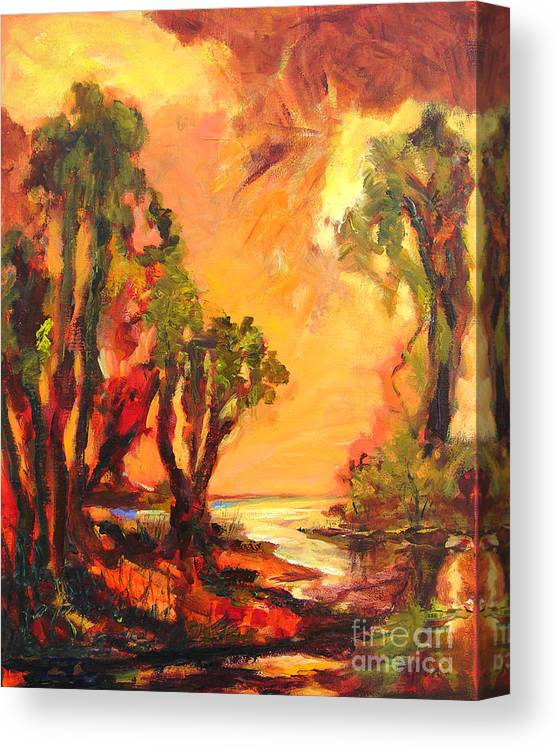 Framed Landscape Prints Canvas Print featuring the painting Waterway by Julianne Felton