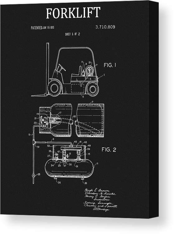 1973 Forklift Patent Canvas Print featuring the drawing 1973 Forklift Patent by Dan Sproul