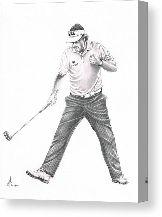 Pencil Canvas Print featuring the drawing Phil Mickelson by Murphy Elliott