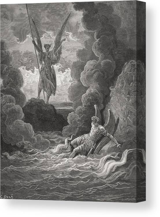 Black And White Canvas Print featuring the drawing Illustration By Gustave Dore 1832-1883 by Vintage Design Pics
