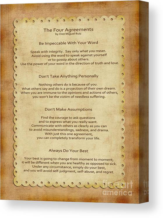 picture relating to The Four Agreements Printable titled 41- The 4 Agreements Canvas Print