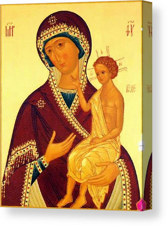 Virgin And Child Canvas Print featuring the digital art Madonna Enthroned Christian Art by Carol Jackson
