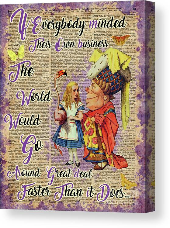 Alice In Wonderland Canvas Print featuring the mixed media Alice With The Duchess Vintage Dictionary Art by Anna W