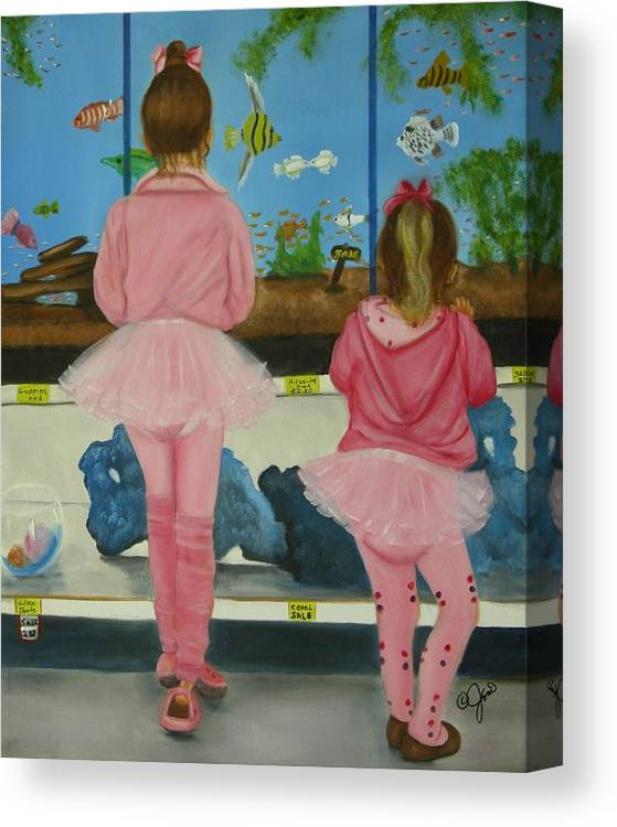 Oil Painting Canvas Print featuring the painting At The Pet Store by Joni McPherson