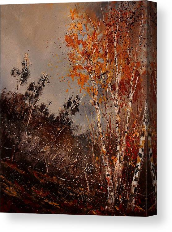 Tree Canvas Print featuring the painting Autumn Birches by Pol Ledent