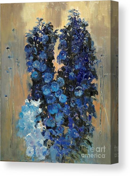 Floral Canvas Print featuring the painting Blue Delphiniums For Nancy by Glenn Secrest
