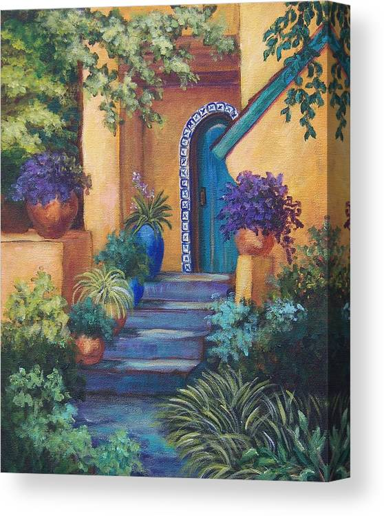 Adobe House Canvas Print featuring the painting Blue Tile Steps by Candy Mayer