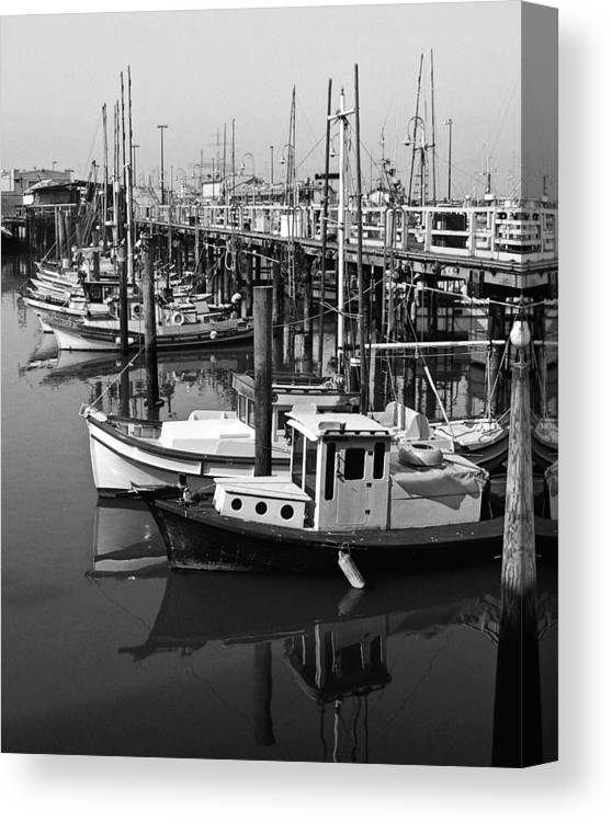 Boats Canvas Print featuring the photograph Boat Reflections by Tom Reynen