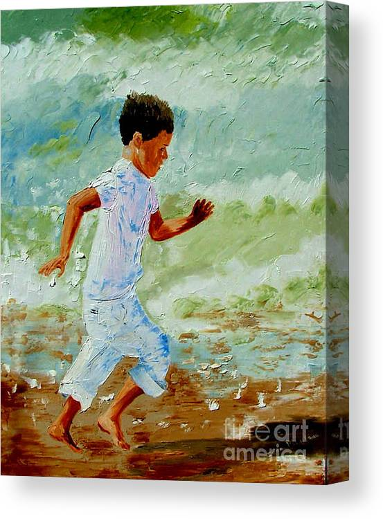 Boy Canvas Print featuring the painting Boy By The Sea by Inna Montano