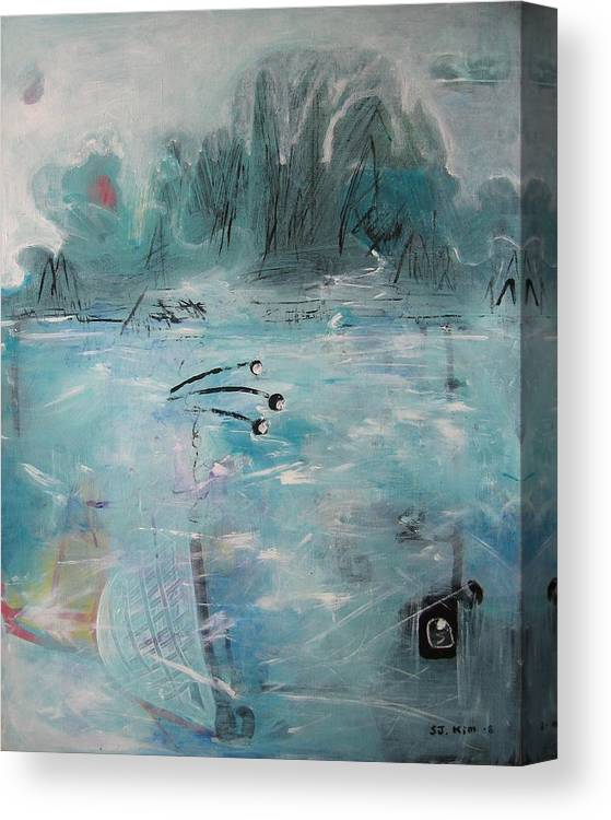 Abstract Paintings Canvas Print featuring the painting Brierly Beach by Seon-Jeong Kim