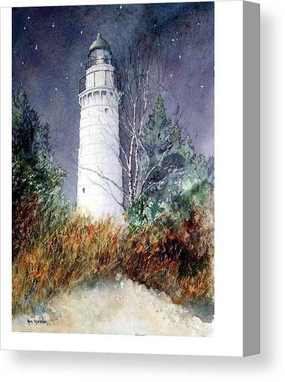 Door County Canvas Print featuring the painting Cana Island Light House by Ken Marsden