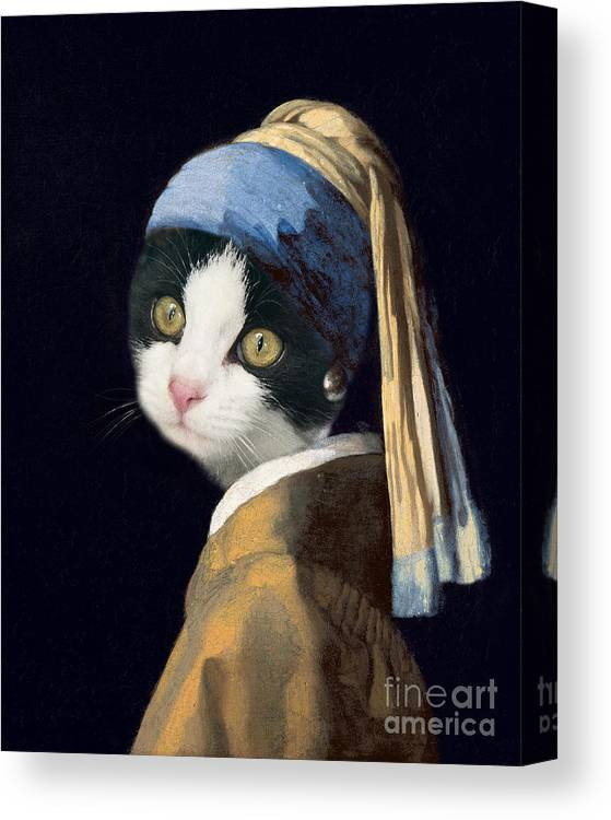 Cat Canvas Print featuring the painting Cat With A Pearl Earring by Delphimages Photo Creations