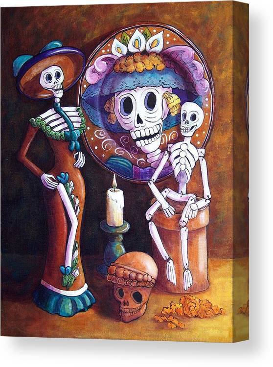 Dia De Los Muertos Canvas Print featuring the painting Catrina Group by Candy Mayer