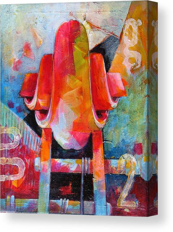 Musical Artwork Canvas Print featuring the painting Cello Head In Blue And Red by Susanne Clark
