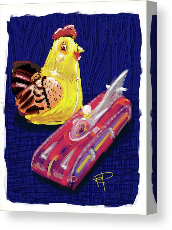 Chicken Canvas Print featuring the digital art Chicken And Rocket Car by Russell Pierce