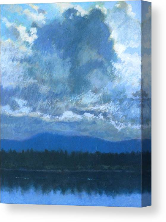 Cloud Canvas Print featuring the painting Clouds On The Kootenai by Robert Bissett