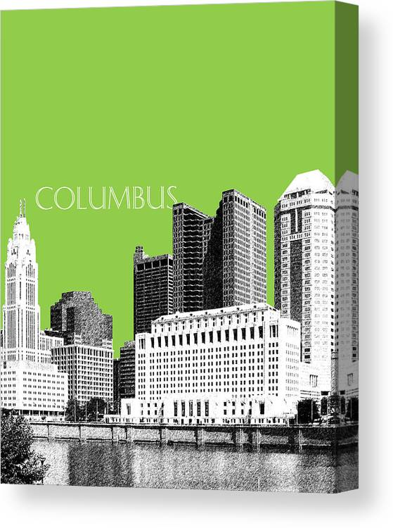 Architecture Canvas Print featuring the digital art Columbus Ohio Skyline - Olive by DB Artist