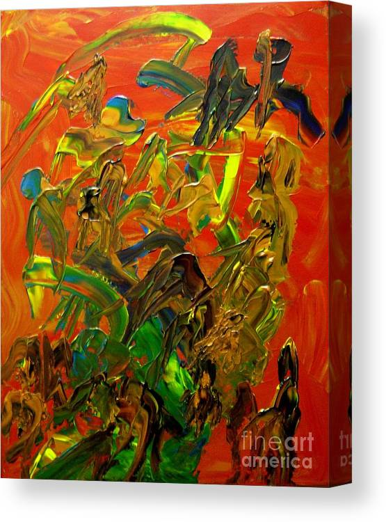Abstract Canvas Print featuring the painting Conversations by Karen L Christophersen