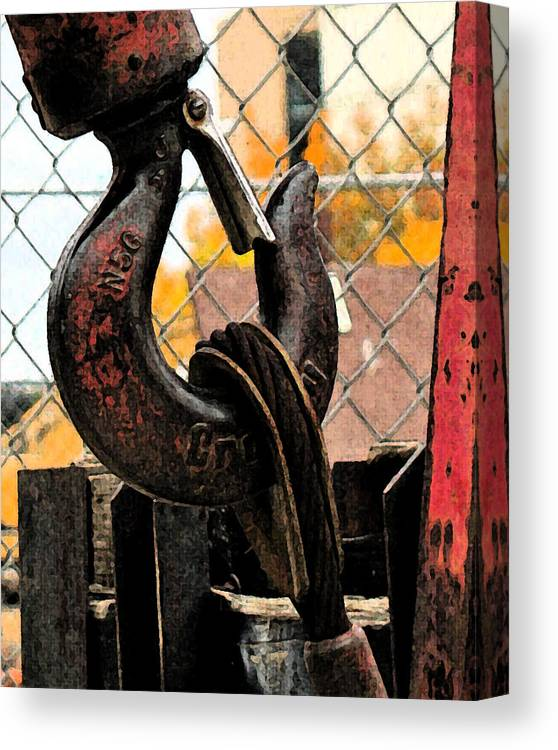 Construction Canvas Print featuring the photograph Crane Hook by Gary Everson