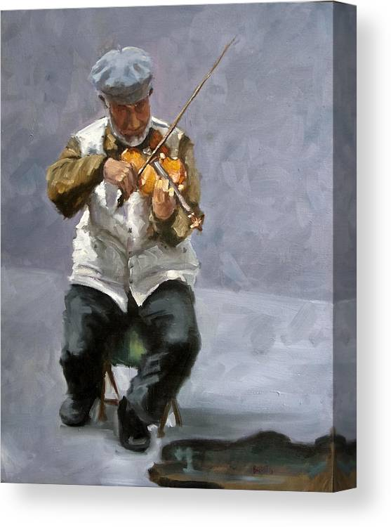 Figure Canvas Print featuring the painting Curbside Concerto by Kathy Busillo