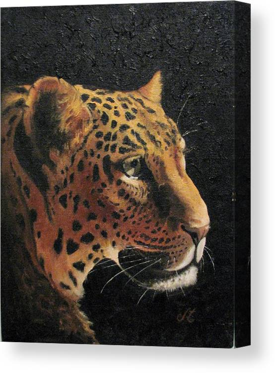 Leopard Canvas Print featuring the painting Curious by Jan Brown Caraway