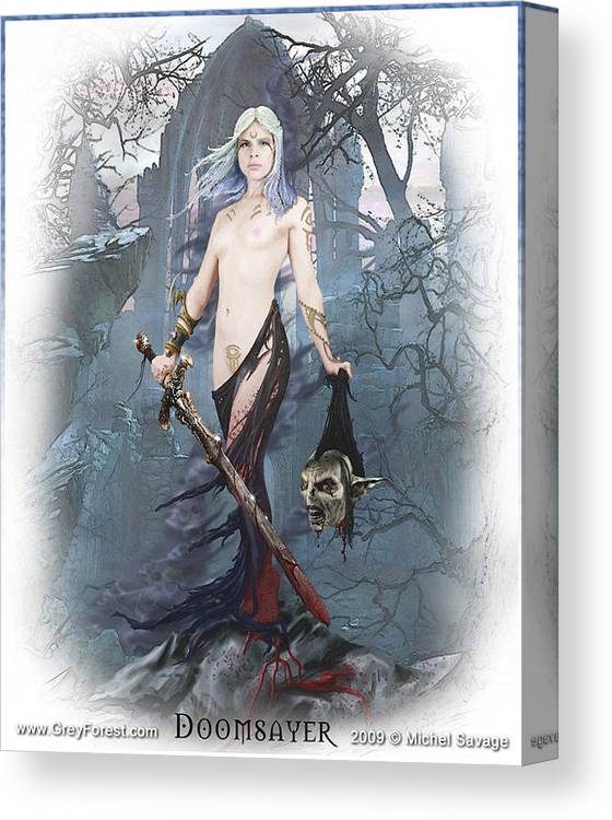 Sword Canvas Print featuring the painting Doomsayer by Michel Savage