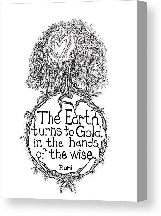 Earth Turns To Gold Tree Drawing Canvas Print