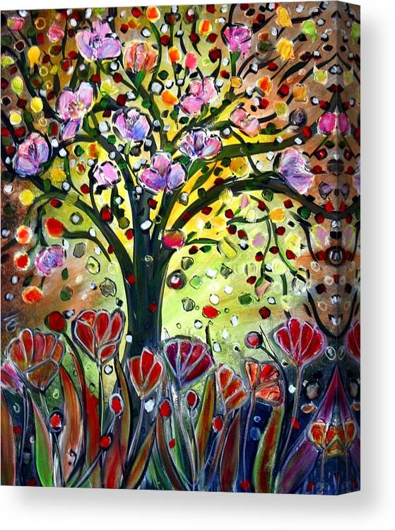 Flowers Canvas Print featuring the painting Eden Garden by Luiza Vizoli