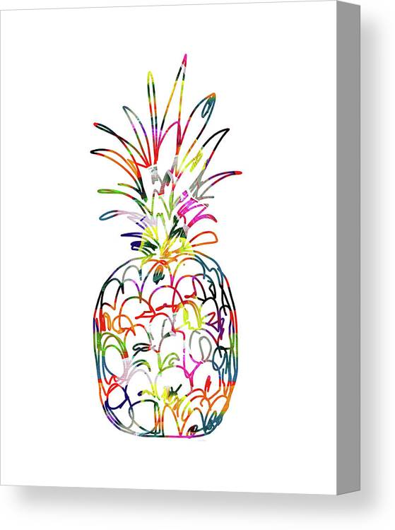 4c7848771d36 Pineapple Canvas Print featuring the digital art Electric Pineapple - Art By  Linda Woods by Linda