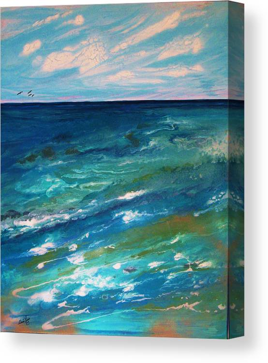 Contemporary Sea Canvas Print featuring the painting Energie Printaniere De L by Annie Rioux
