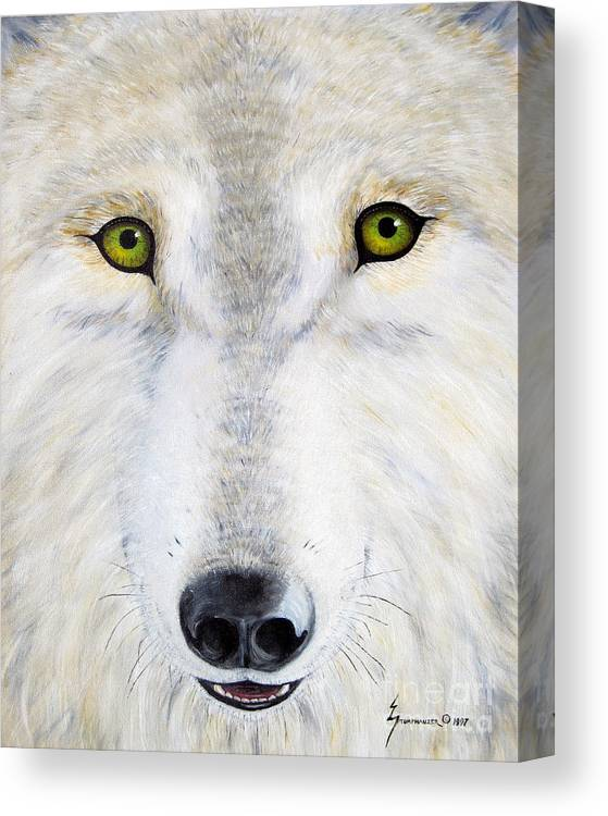 Wolf Canvas Print featuring the painting Eyes Of The Wolf by Jerome Stumphauzer