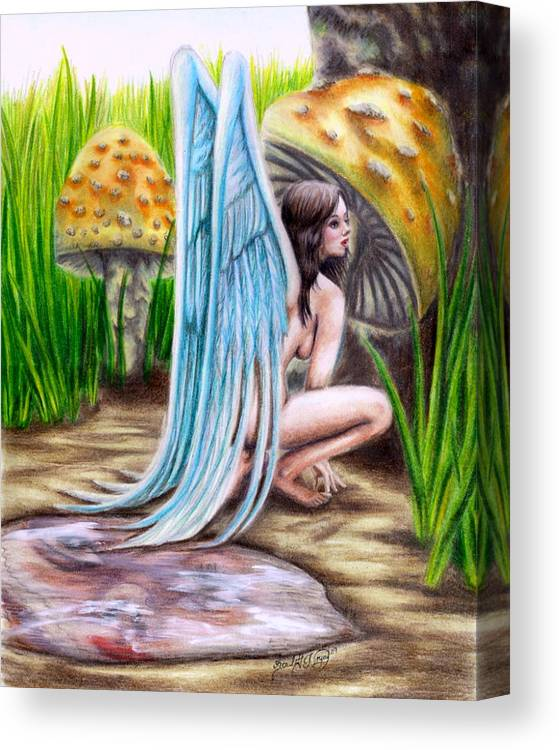 Wings Canvas Print featuring the drawing Fairy Amongst Poison by Scarlett Royal