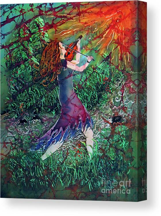 Fiddler Canvas Print featuring the painting Fiddler Of The Forest 2 by Sue Duda