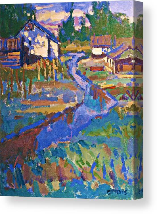 Landscape Canvas Print featuring the painting Finn Slough by Brian Simons