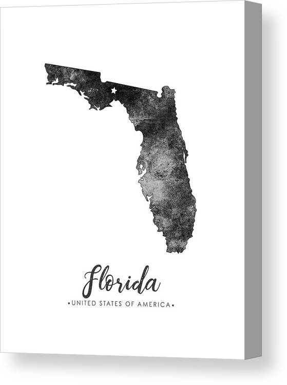 Florida State Map Art Grunge Silhouette Canvas Print Canvas Art