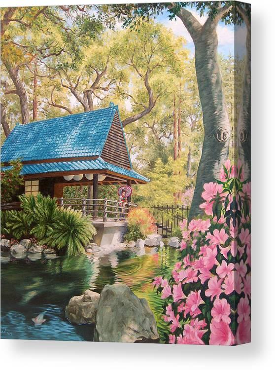 Geisha Japan Teahouse Koi Pond Garden Flowers Canvas Print featuring the painting Geisha In A Japanese Garden by Johanna Girard