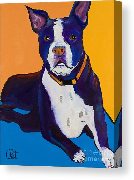 Boston Terrier Canvas Print featuring the painting Georgie by Pat Saunders-White