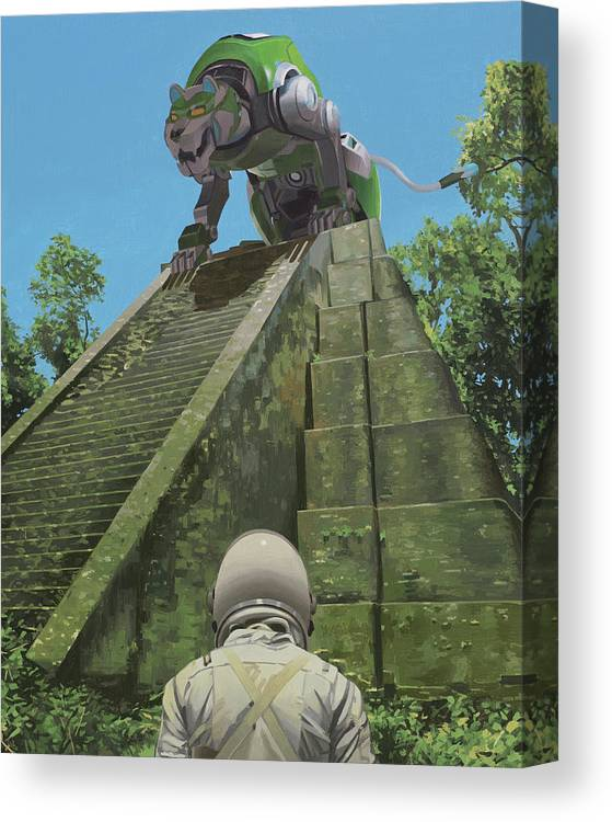 Astronaut Canvas Print featuring the painting Green Lion by Scott Listfield