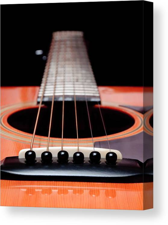 Andee Design Guitar Canvas Print featuring the photograph Guitar Orange 19 by Andee Design