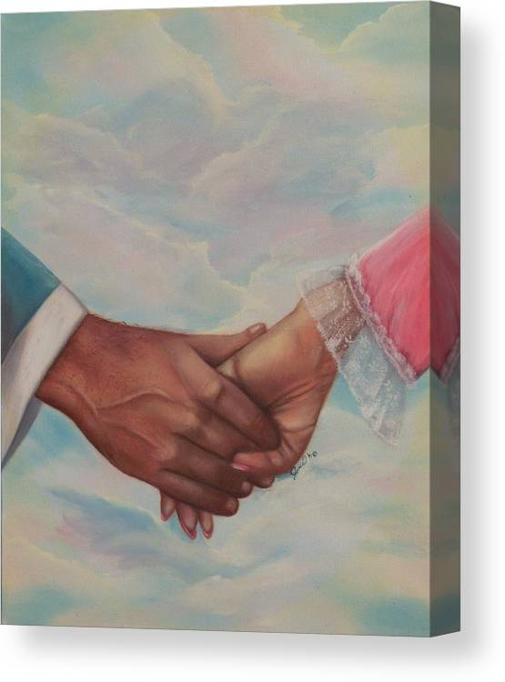 Portrait Canvas Print featuring the painting Hand In Hand Forever by Joni McPherson