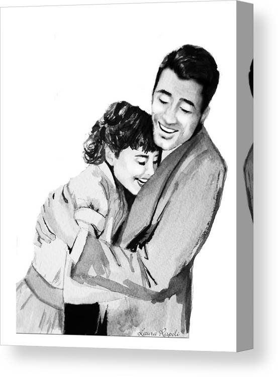 Hug Canvas Print featuring the painting Happy by Laura Rispoli