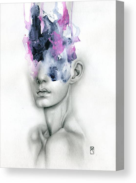 Portrait Canvas Print featuring the painting Harbinger by Patricia Ariel